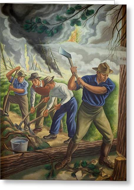 Fighting Forest Fire Greeting Card by Ernest Fiene