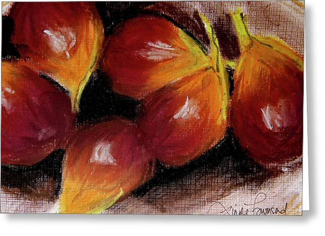 Greeting Card featuring the painting Figs by Linde Townsend