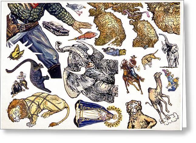 Figurative Sticker Sheet Greeting Card by Karl Frey