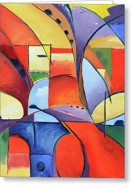 Figure Landscape Abstract Greeting Card