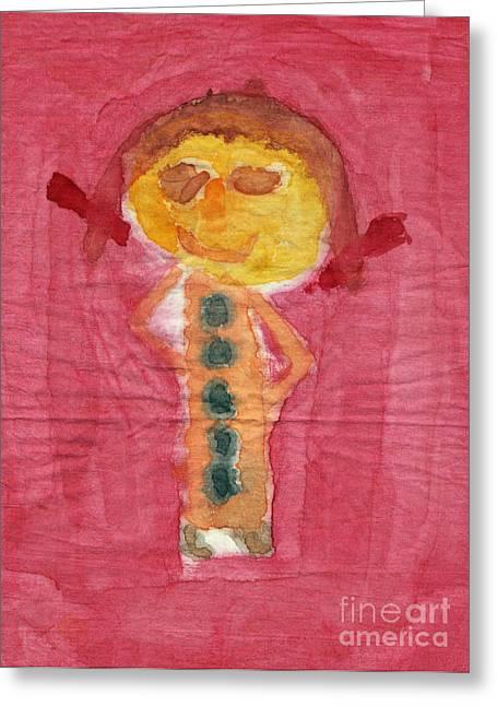 Figure Look Like Child Painting Greeting Card