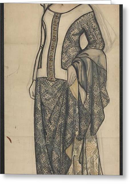 Figure Of Guinevere Greeting Card by William Morris