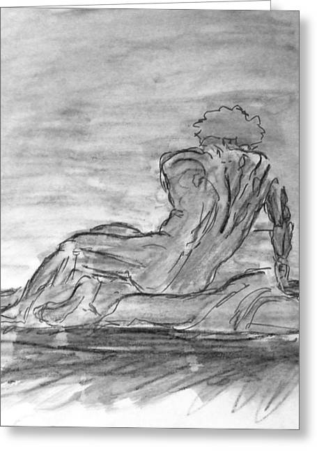 Figure Sketch In Monochrome Black White Arched And Curved Twisted Back Leaning On One Hand In Seated Greeting Card