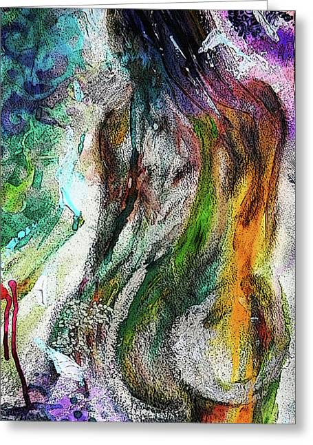Greeting Card featuring the mixed media Figure Study 1 by Lisa McKinney