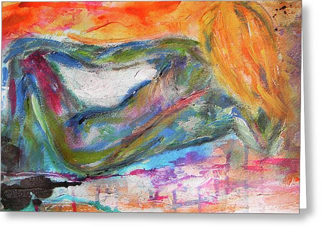 Greeting Card featuring the mixed media Figure Study 2 by Lisa McKinney