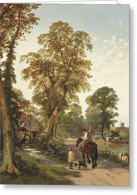 Figures And Animals Along A River Bank, A Cottage And Windmill Beyond Greeting Card