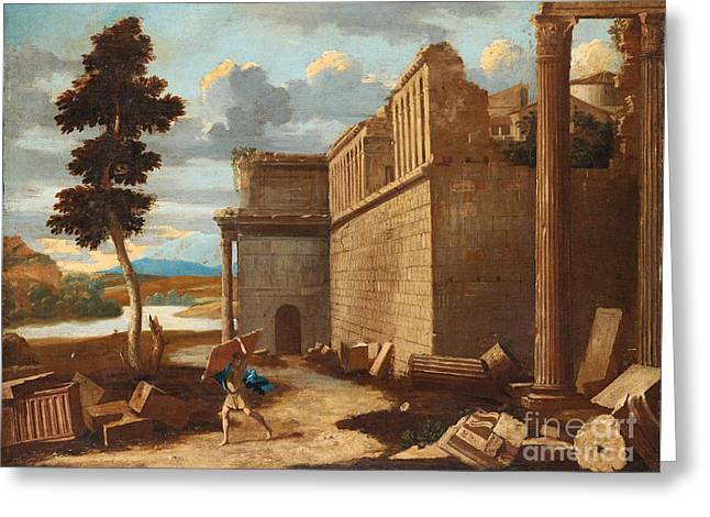 Figures In A Landscape With Ruins Greeting Card by Celestial Images