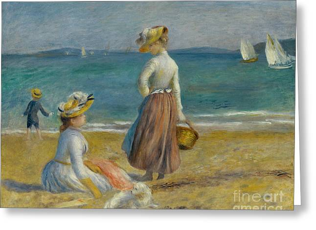 Figures On The Beach, 1890 Greeting Card by Pierre Auguste Renoir