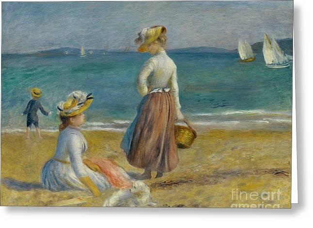 Figures On The Beach, 1890 Greeting Card by Pierre Auguste Renoir