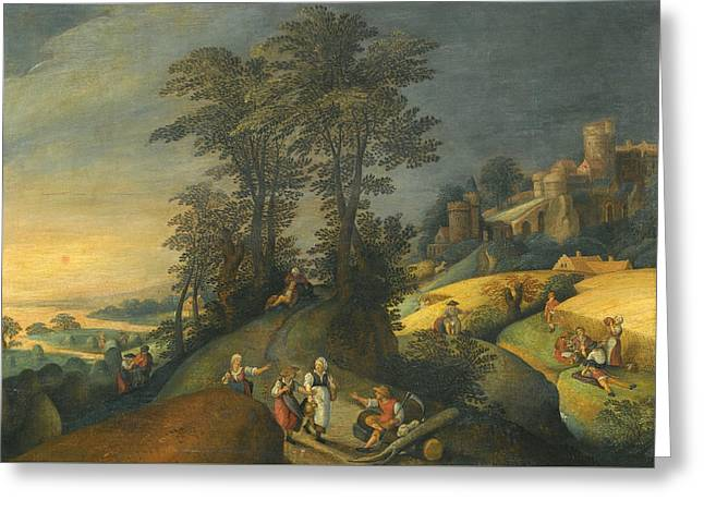 Figures Resting During The Harvest Greeting Card by Follower of Jacob Grimmer
