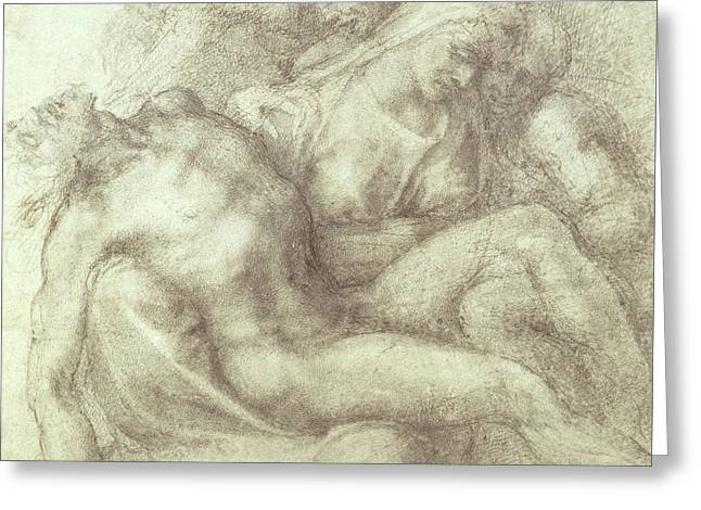 Figures Study For The Lamentation Over The Dead Christ, 1530 Greeting Card by Michelangelo