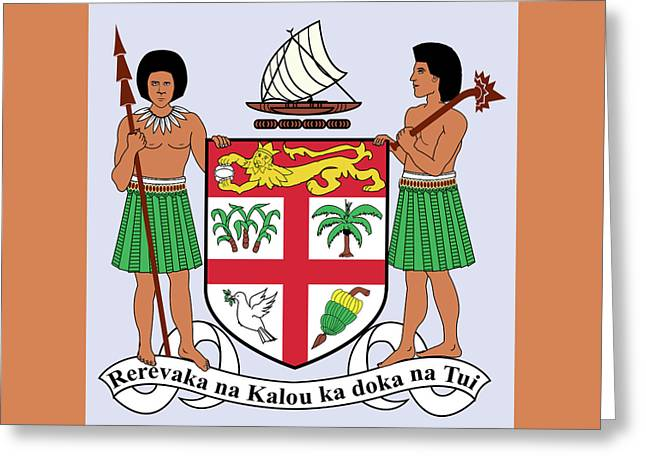Greeting Card featuring the drawing Fiji Coat Of Arms by Movie Poster Prints