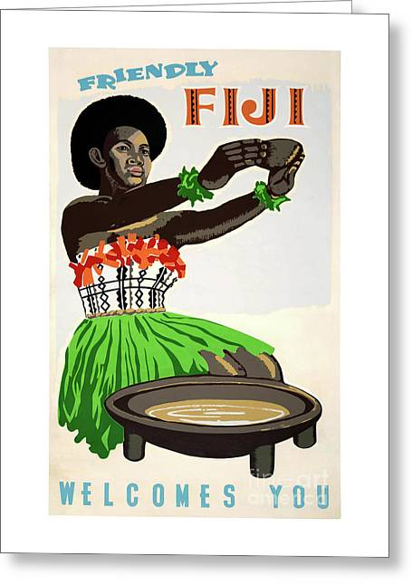 Fiji Restored Vintage Travel Poster Greeting Card