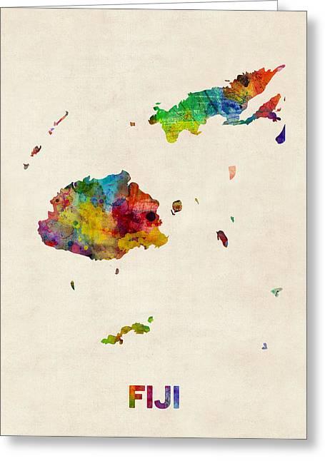 Fiji Watercolor Map Greeting Card by Michael Tompsett