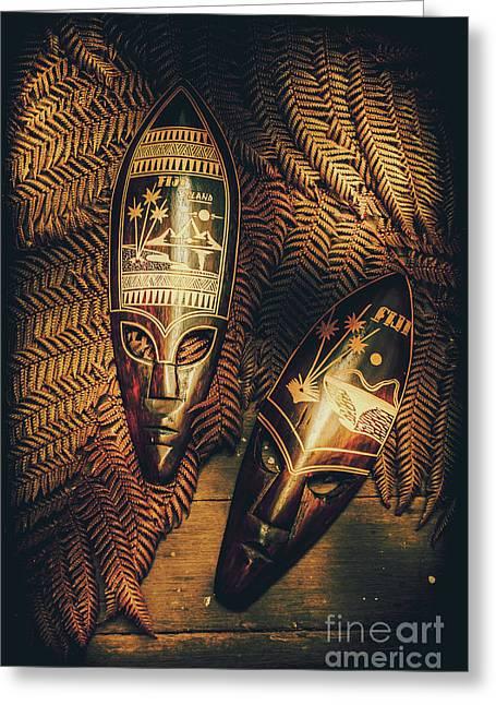 Fijian Tiki Tribal Masks Greeting Card