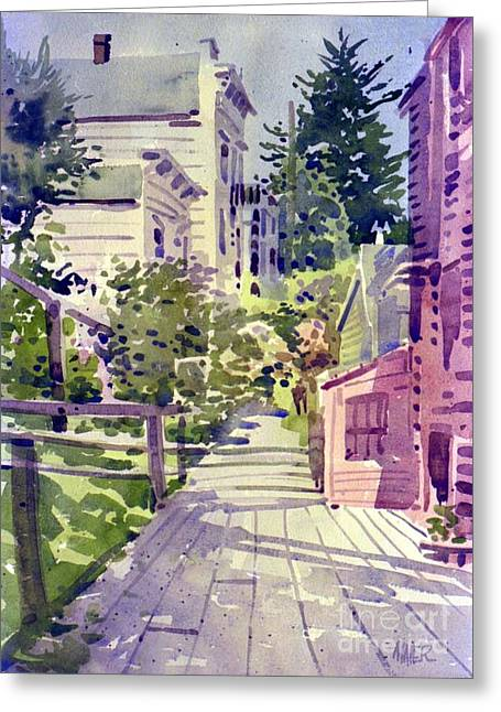 Filbert Street Stairs Greeting Card by Donald Maier