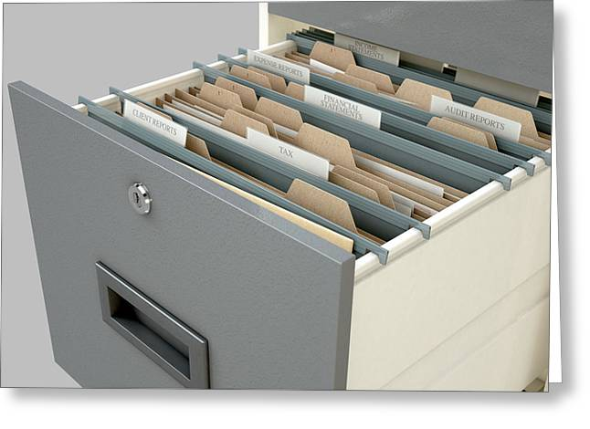 Filing Cabinet Drawer Open Tax Greeting Card by Allan Swart