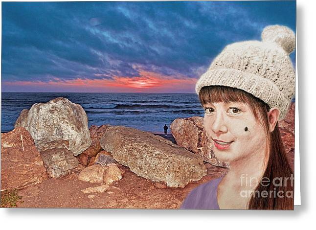 Filipina Beauty At The Beach During Sunset Greeting Card