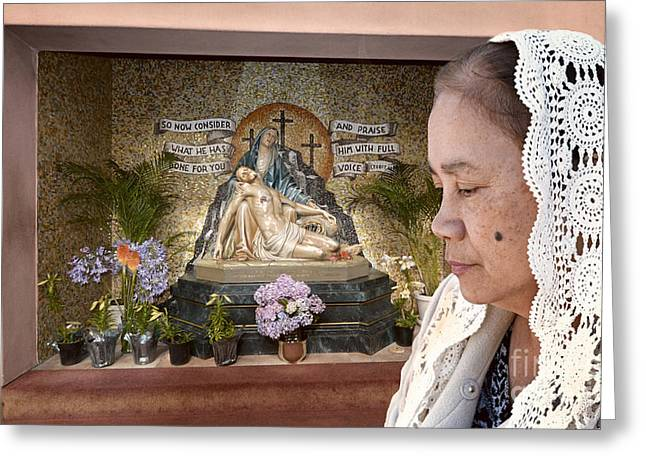 Filipina Woman Wearing A Vale Deep In Thought  Greeting Card