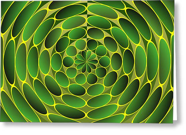 Filled Green Ellipses Greeting Card by Gaspar Avila