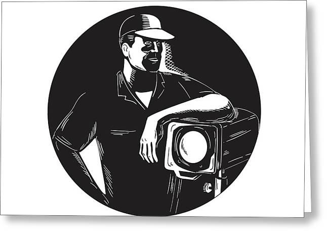 Film Crew Lighting Fresnel Spotlight Circle Woodcut Greeting Card