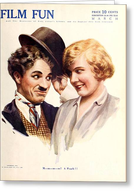 Film Fun Classic Comedy Magazine Featuring Charlie Chaplin And Girl 1916 Greeting Card