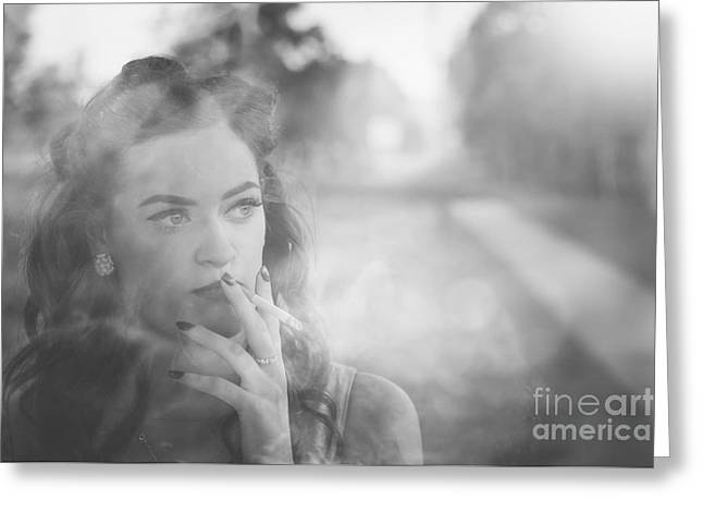 Film Noir Lady Smoking Cigarette On Vintage Street Greeting Card by Jorgo Photography - Wall Art Gallery