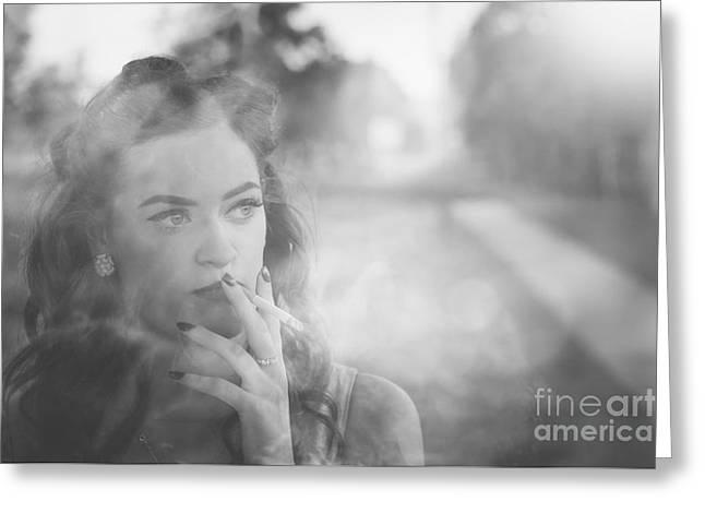 Film Noir Lady Smoking Cigarette On Vintage Street Greeting Card