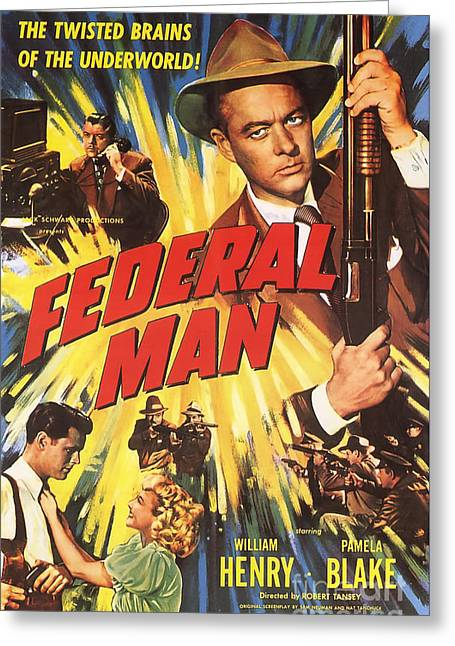 Film Noir Movie Poster The Federal Man Greeting Card by R Muirhead Art