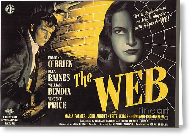 Film Noir Poster   The Web Greeting Card by R Muirhead Art