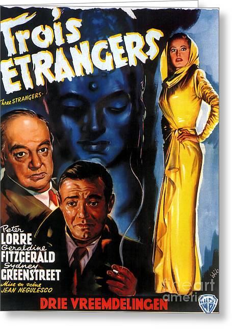 Film Noir Poster Three Strangers Greeting Card by R Muirhead Art