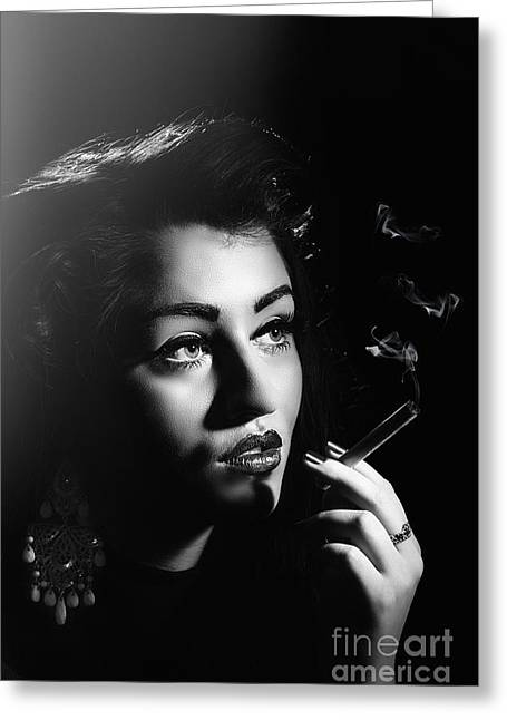 Film Noir Smoking Woman Greeting Card by Amanda Elwell