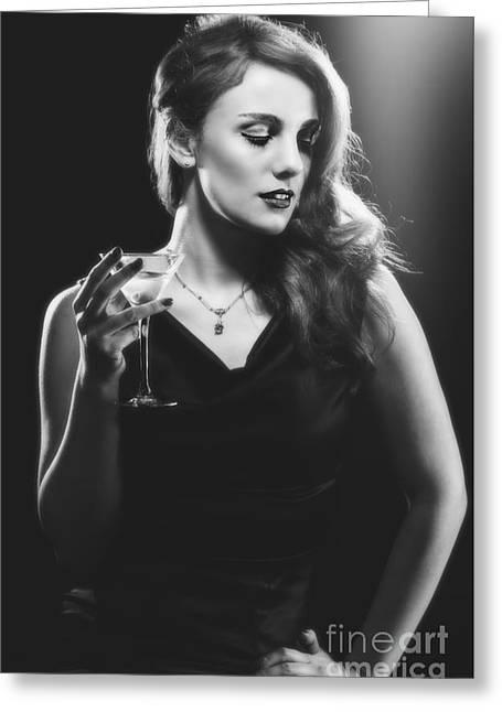 Film Noir Woman Drinking A Martini Greeting Card by Amanda Elwell