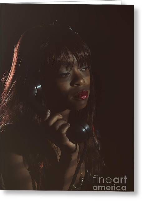 Film Noir Woman On Phone Greeting Card by Amanda Elwell