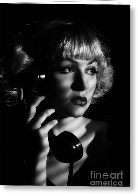Film Noir Woman On Vintage Phone Greeting Card by Amanda Elwell