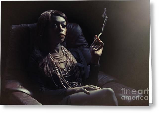 Film Noir Woman Smoking Greeting Card by Amanda Elwell