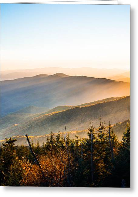 Filtering Light Over The Mountains Greeting Card by Shelby Young