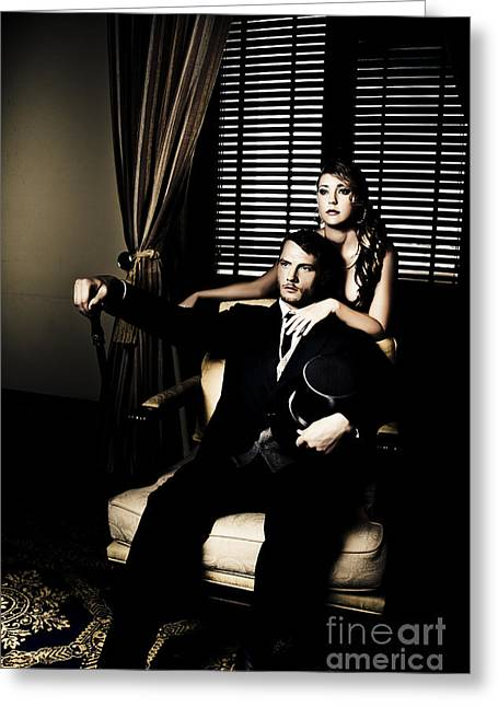 Filthy Rich Man And Woman Greeting Card by Jorgo Photography - Wall Art Gallery