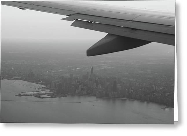 Final Approach Chicago B W Greeting Card by Steve Gadomski