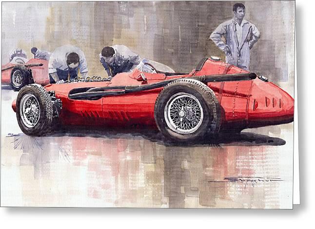 Watercolour Paintings Greeting Cards - Final check before the start Maserati 250 F 1957 Greeting Card by Yuriy  Shevchuk
