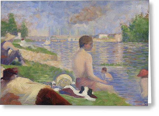 Final Study For Bathers At Asnieres Greeting Card by Georges Pierre Seurat