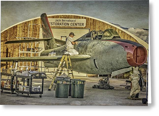F-84f Thunderstreak Final Touches  Greeting Card