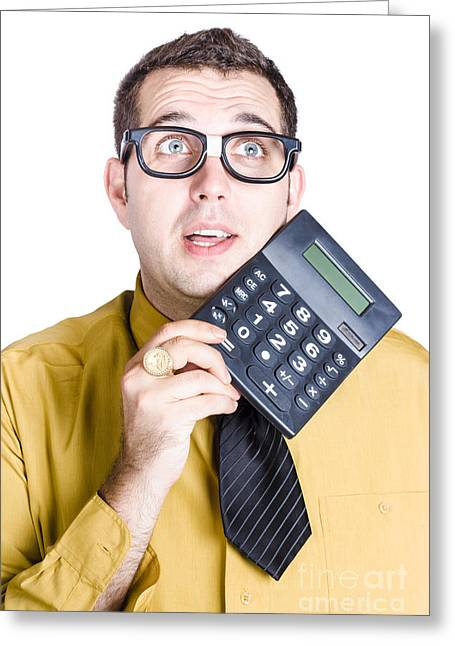 Finance Businessman With Calculator Greeting Card by Jorgo Photography - Wall Art Gallery