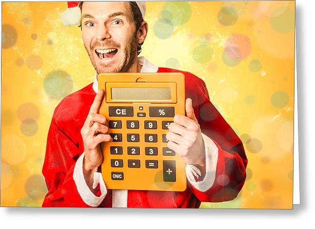 Finance Calculator Santa With Christmas Savings Greeting Card