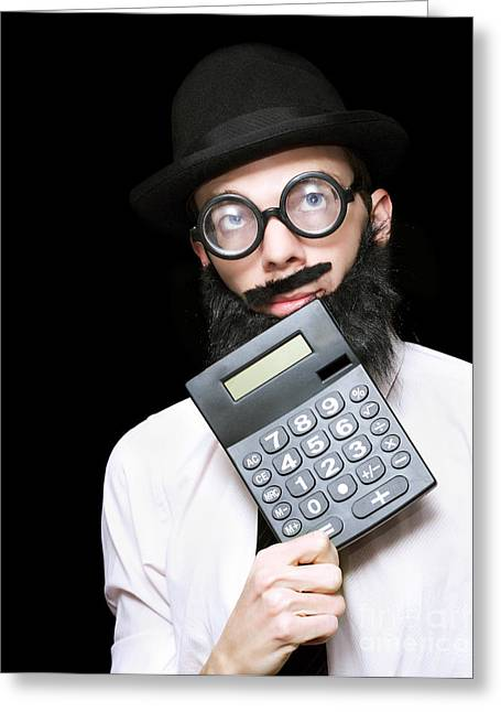 Financial And Accounting Genius With Calculator Greeting Card by Jorgo Photography - Wall Art Gallery