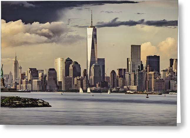 Financial Center Panorama Greeting Card by Eduard Moldoveanu
