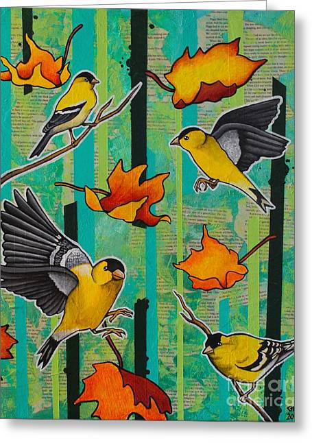 Finches And Fall Greeting Card