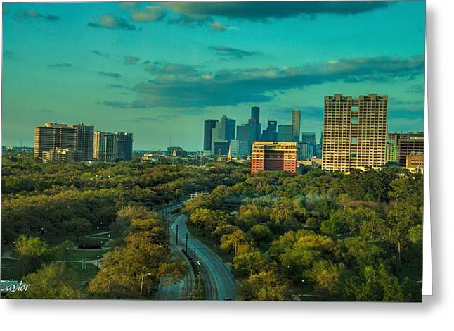 Fine Art America Pic 118 Houston Skyline Greeting Card