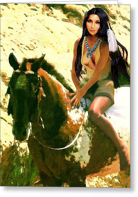 Greeting Card featuring the digital art Fine Art Digital Portrait Cher Half Breed B Detail3 by G Linsenmayer
