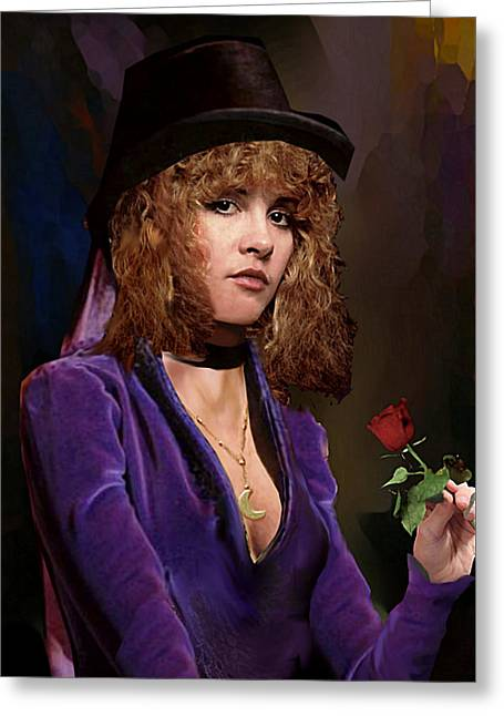 Greeting Card featuring the painting Fine Art Digital Portrait Stevie Nicks Crescent Moon Top Hat by G Linsenmayer